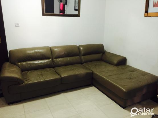 L shaped Leather Sofa from Home Center For Sale