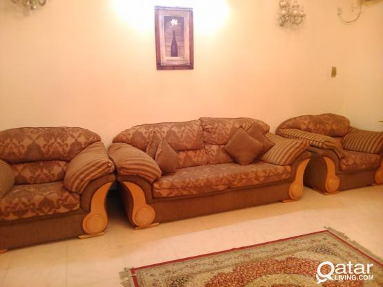 Used solid wood sofa set, 7 seater,