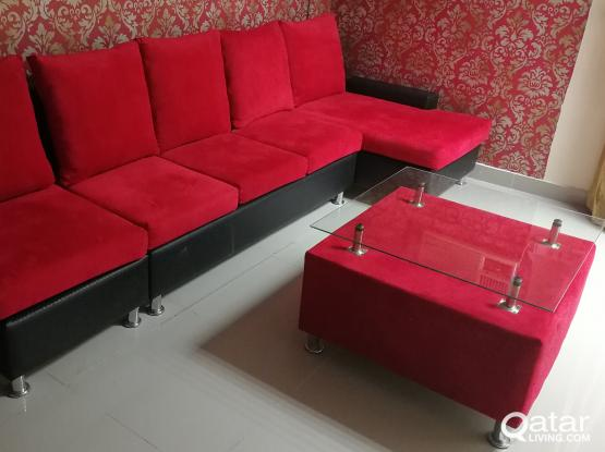 L shape sofa red and black