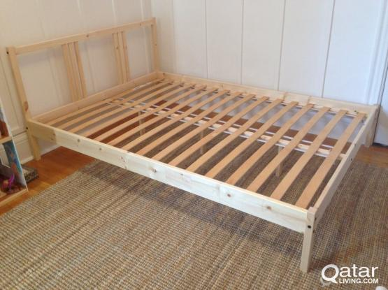 FJELLSE(Double) Bed Frame with side tables