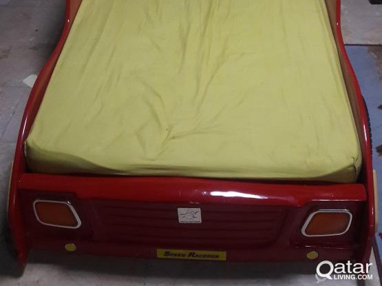 Kids Car Bed & Side Drawer for sale