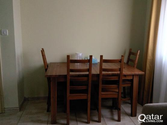 MUST GO -NEGOTIABLE- Ikea Extendable wooden Dining Table with 4 chairs