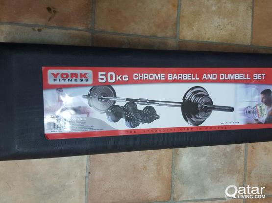 YORK FITNESS BARBEL & DUMBELL SET 50KG AND AB BENCH 66284255( CALL ME BETWEEN 1600-2100)