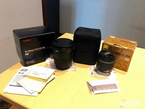 Sigma 10-20mm Wide lens & Nikkor 18-55mm Kit lens