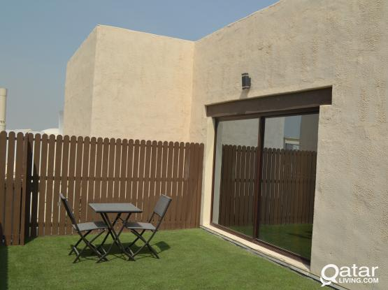 Furnished Studio @Thumama with private garden ( patio )