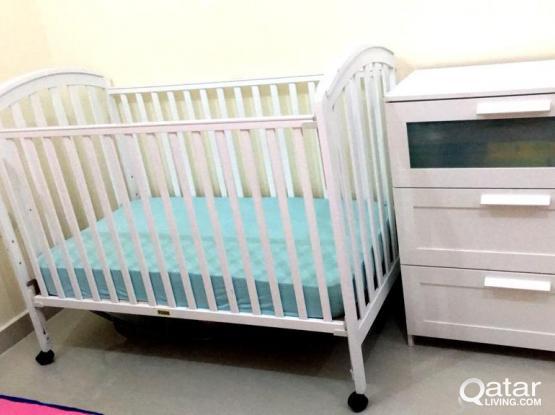 Junior Baby bed, Mattress & Wardrobe