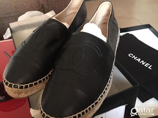 Chanel Classic Leather Espadrilles Flats Shoes
