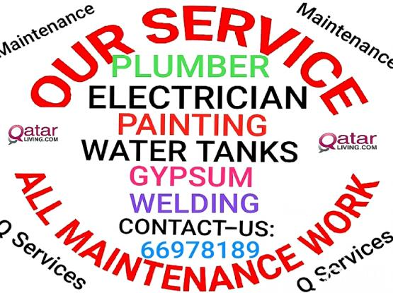 Electric /Plumbing /Gypsum board and partition All services 24/7 Services, Please Call:66978189
