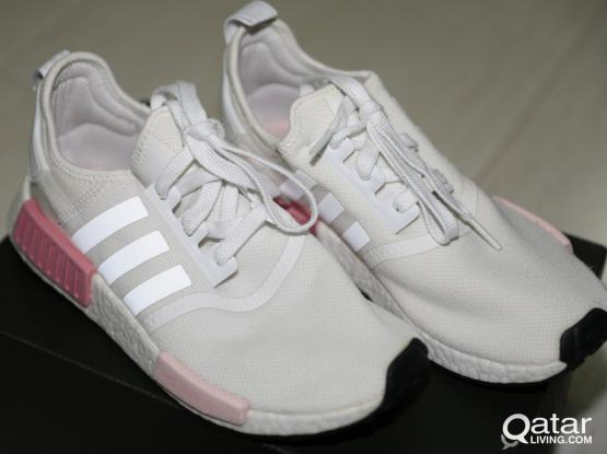 Rose Pink and White Adidas Nmds