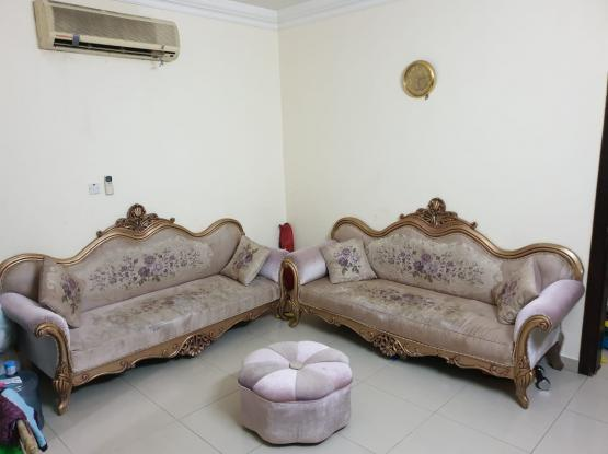 Sofa 4 seater (2 Nos.) with cusions + Round Chair