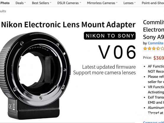 Nikon Lens to Sony E mount Camera (Auto focus Adapter)