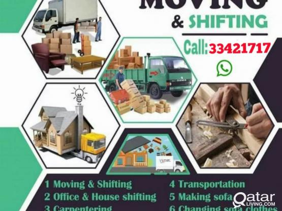 Best Price Quick Moving & Shifting Co. All kinds of House hold item work House ,office,Villa,store, Hotel, Showroom,Carpenter working good Call & WhatsApp Me:- 974-33421717 . Non Stop Holiday's working . Now  discount offer & Best price Any locations.