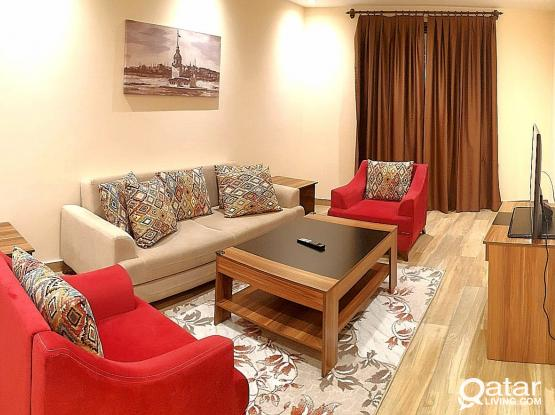 LUXURIOUS 1 BED SERVICED HOTEL APARTMENT IN AL SADD (INCLUDING BILLS)