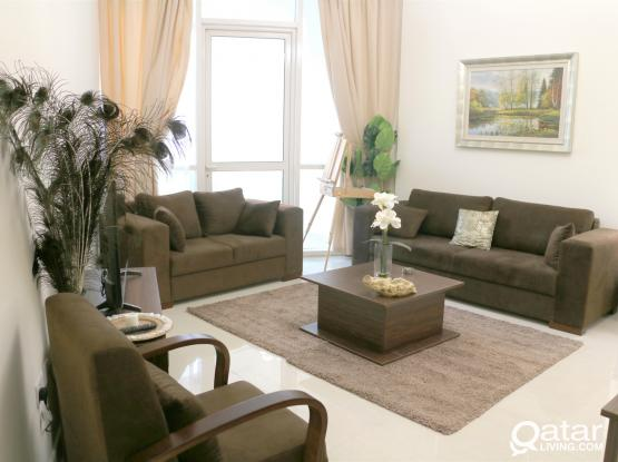 Amazing View Furnished 2BHK Apt With Balcony+ Qatar Cool & 1Month Free