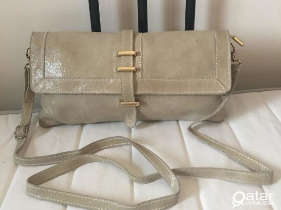 Italian soft clutch leather bag