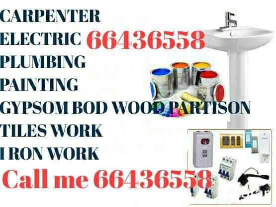 Painter, gypsum bod glass partition plumbing new office room making maintenance work 66436558