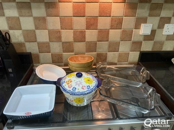 Various pie dish, casserole dishes