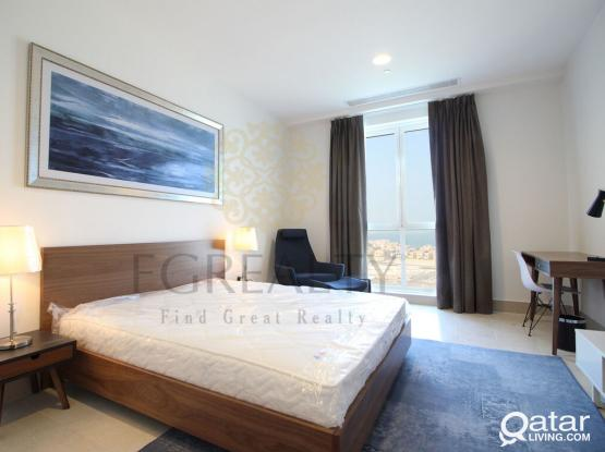 BILLS INCLUDED: 2 MONTHS FREE Sea View 1BR + Office in The Pearl