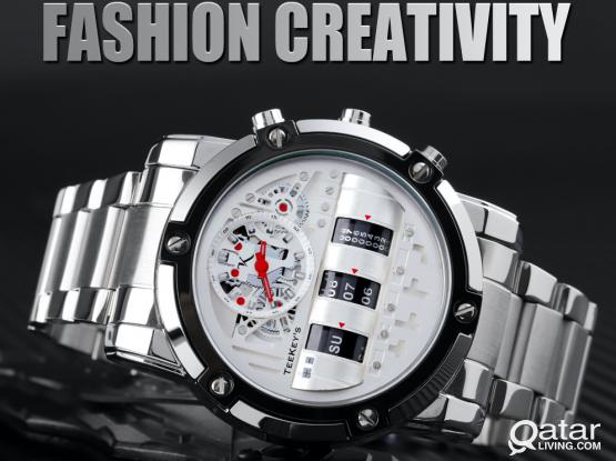 TEEKEYS Men Luxury Brand Stainless Steel Watch With Rolling Day Month Date TK3170 NEW ARRIVALS