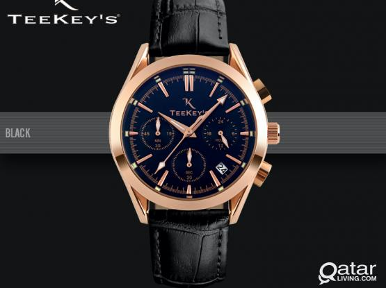 TEEKEYS Men Luxury Brand Chronograph and Date Leather Watch TK3165 NEW ARRIVALS