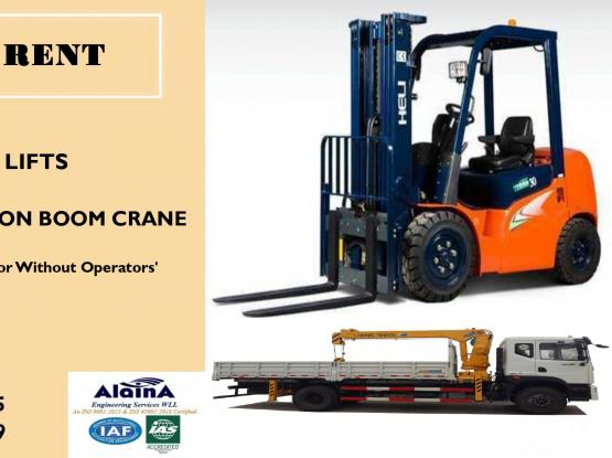 FORK LIFT & PICKUP WITH CRANE FOR RENT