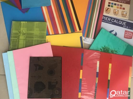 Colored drawing  paper , covers for books, window paint, tracing paper, spacers ...