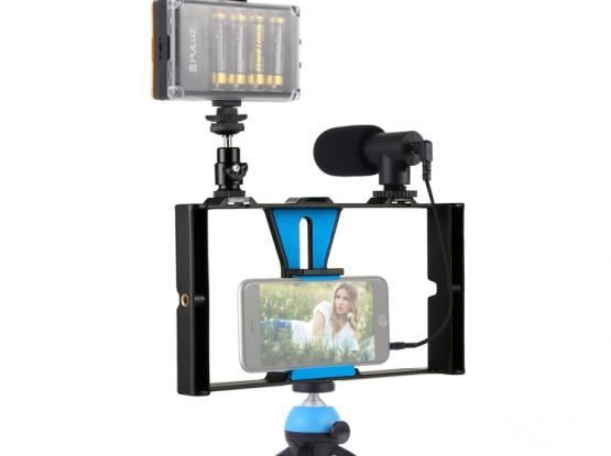 Puluz PKT3023 Live Broadcast LED Selfie Kits – Smartphone Video Vlogging Broadcast With Microphone,
