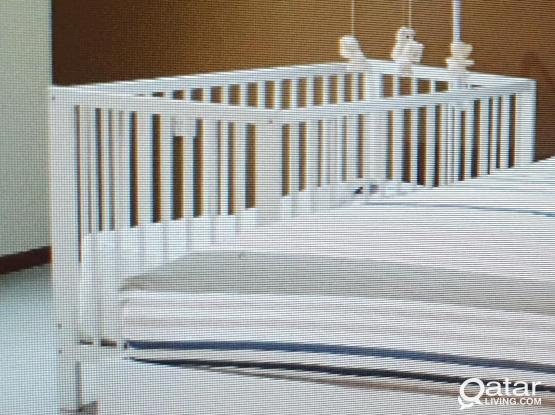 Ikea Baby crib, matress, pad bumper & fitted sheet