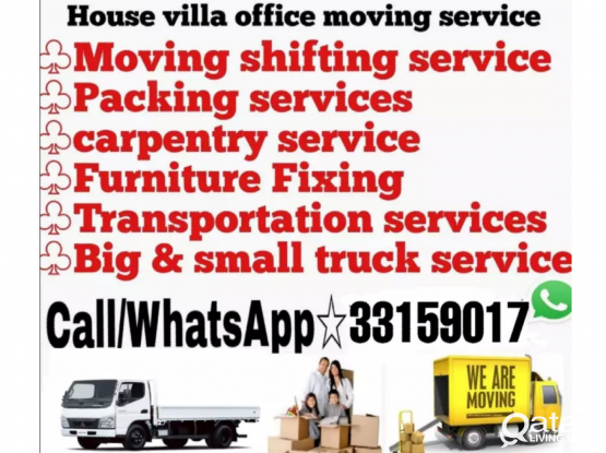 Moving and Shifting all over Qatar. Good price and amazing service. Please whatsapp the work and location- 33159017