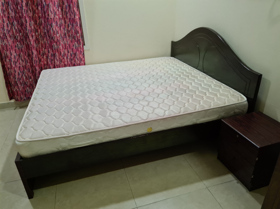 King Bed + Spring Mattress + Side Table - COMBO