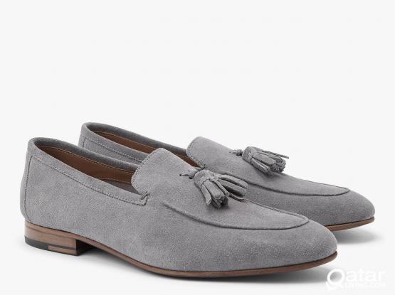 Mens Tassle Blue/Gray Suede Loafers by John Lewis 9/43