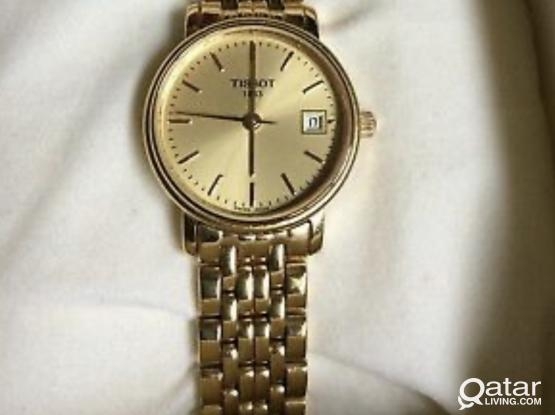 LADIES TISSOT T825/925 GOLD PLATED DATE WATCH