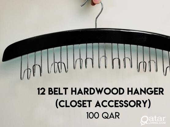 12 Belt Hardwood Hanger (Closet Accessory)