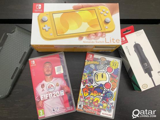 Brand New Nintendo Switch Lite with 2 Games, Car Charger & Case