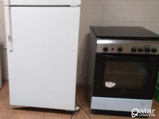 Fridge, Cooking range, TV with stand for sale