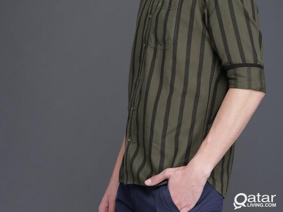 Men Olive Green & Black Slim Fit Striped Casual Shirt