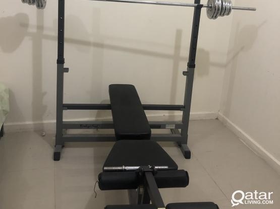 DUMPEL, BARBEL AND BODY SOLID BENCH PRESS.