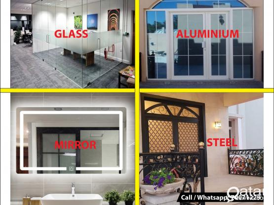 Glass, Mirror, Aluminium, Steel Works we do