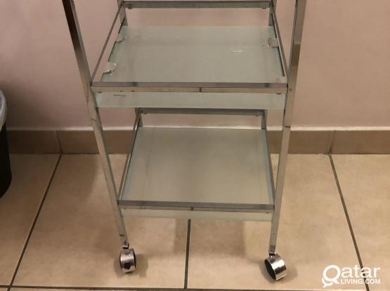 Kitchen/bathroom  steel trolley with class