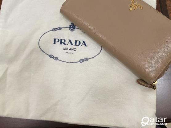 Prada Saffiano Long Wallet in Beige with Dust Bag