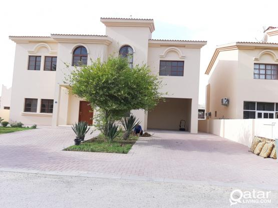 semi furnished 3 bed villa with maid room private garden and backyard.