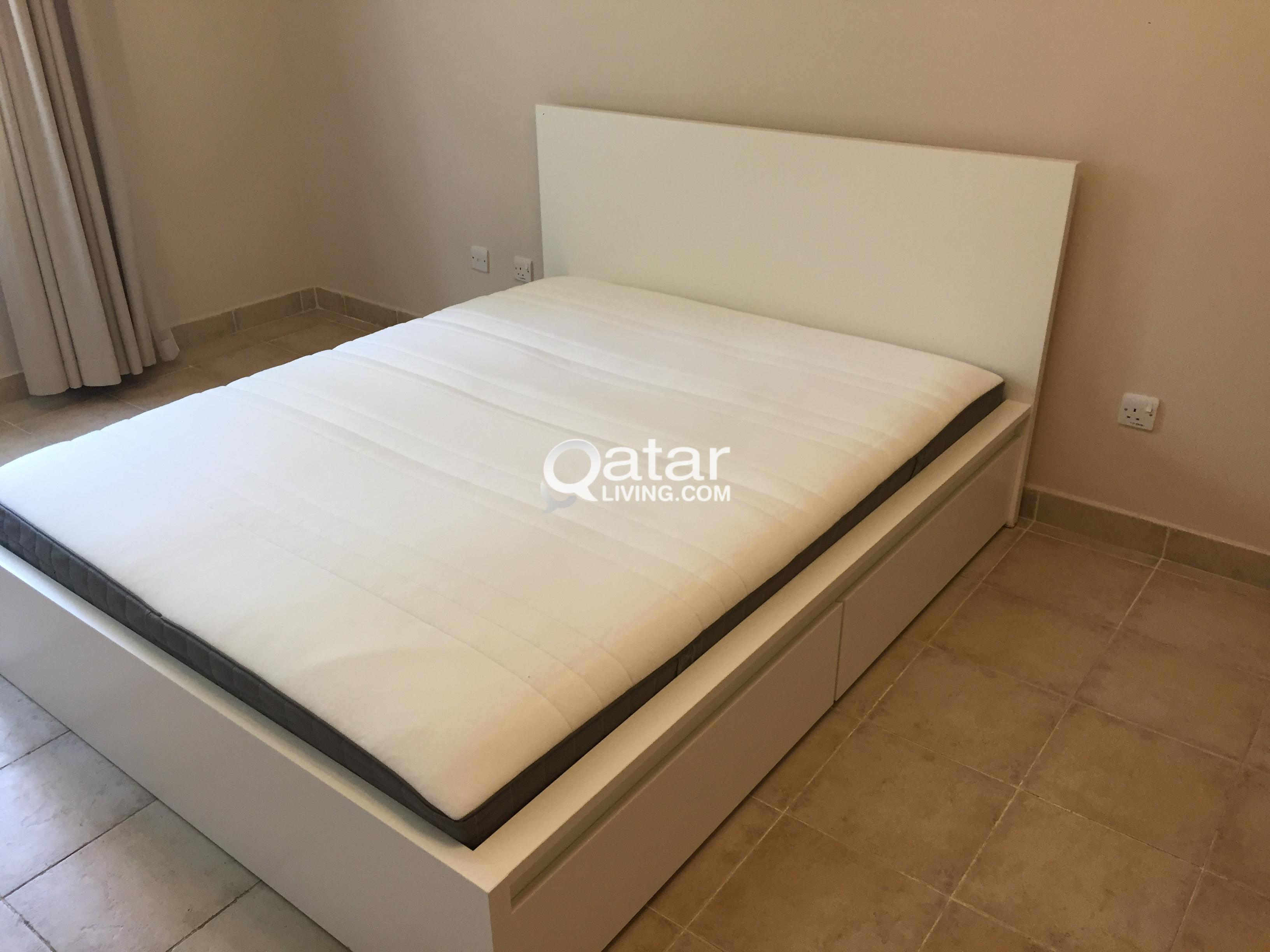 Hardly Used Ikea Bed Frame With Pull Out Drawers And Mattress Immaculate Qatar Living