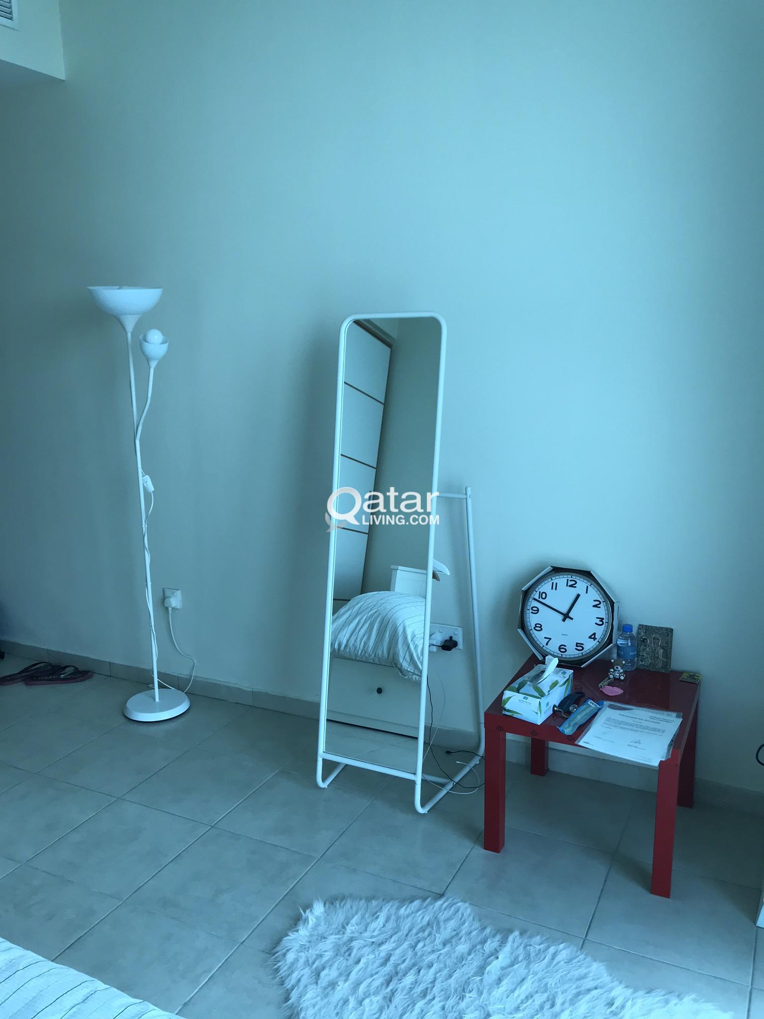 Ikea Knapper Standing Mirror White Floor Light Qatar Living