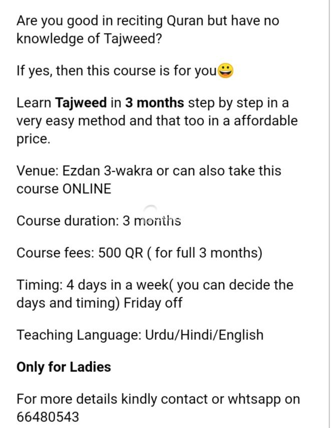 Tajweed course of 3 months