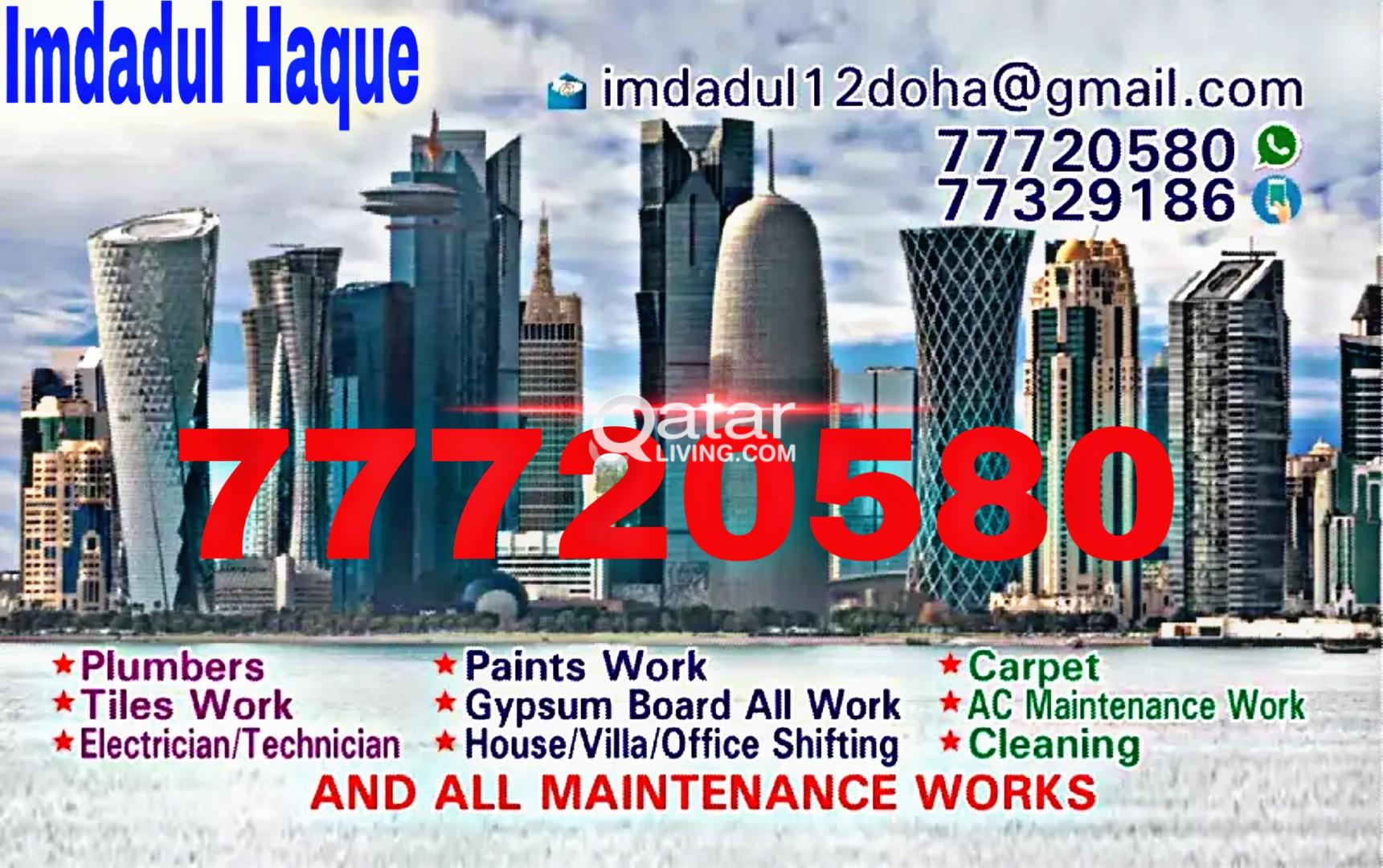 ALL KIND OF MAINTENANCE WORKS. Plumbing,Tiles, Pai