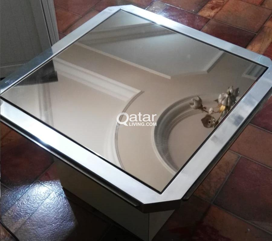 2 Glass Mirror side tables & Chest with 5 wide dra