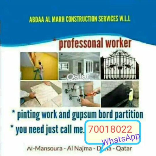 All kinds of works. Maintenance, Gypsum, Painting,