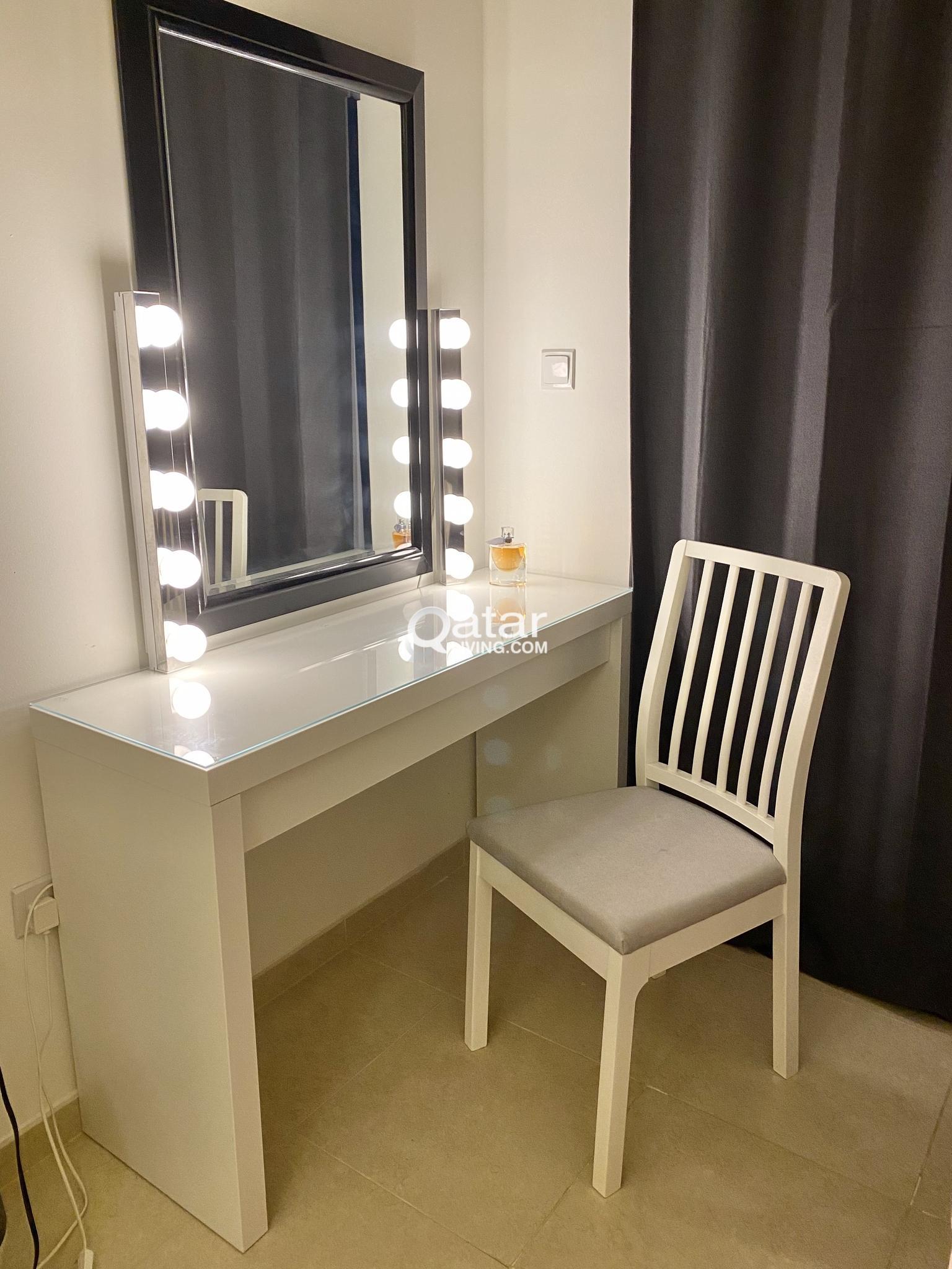 Vanity Chair Ikea No Lights Malm Dressing Table Ekedalen Chair Qatar Living