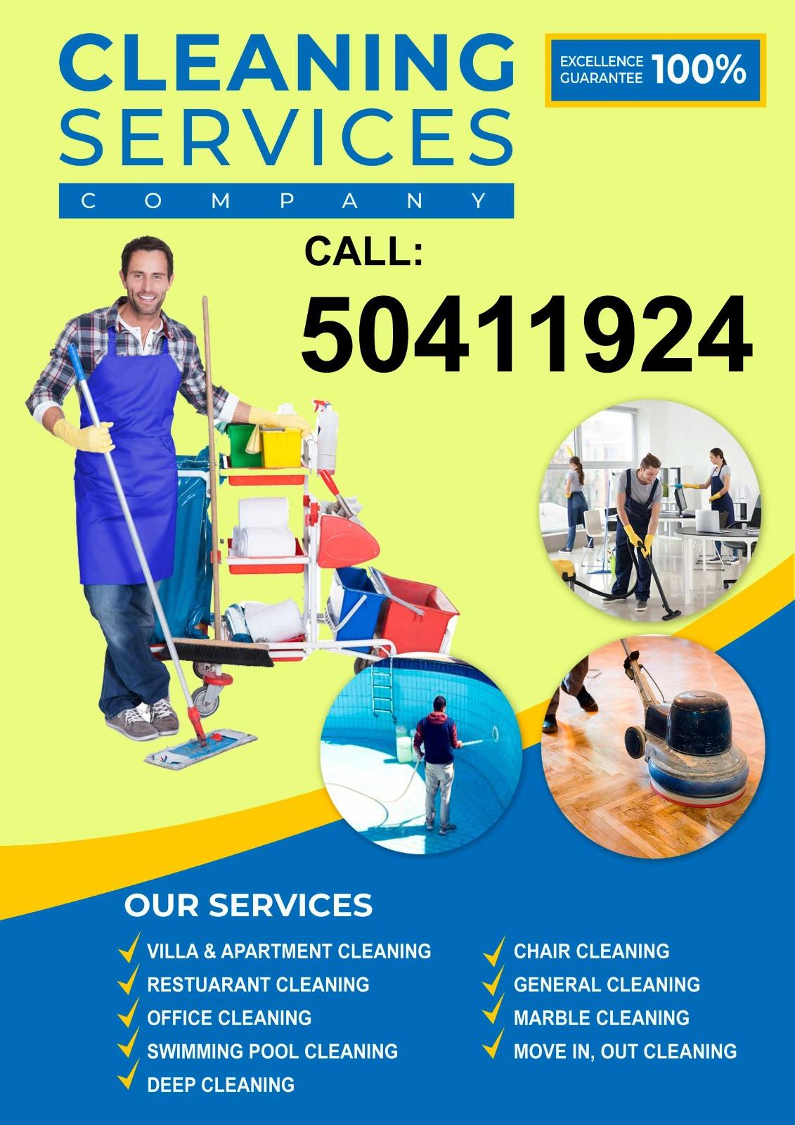 Cleaning services company   Please call 50411924